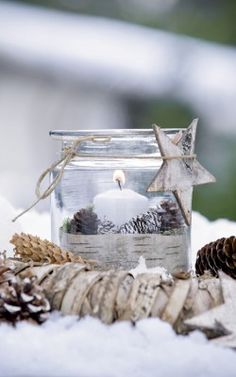 Garden like a Christmas tree - Garden like a Christmas tree - I love the countrysideTHIS WOULD BE  CUTE IDEA FOR THE KIDS TEACHERS ORNAMENT CANDLE IN A JAR WITH BURLAP