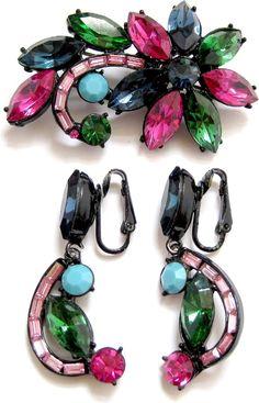 Vintage Bright  Hollycraft Style Pastel Rhinestone Pin & Earring Set