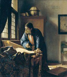 "Johannes Vermeer, ""The Geographer"", 1669 (Städel, Frankfurt) Johannes Vermeer, Caravaggio, Rembrandt, Camera Obscura, Edward Hopper, Chiaroscuro, Manet, Dutch Artists, Famous Artists"