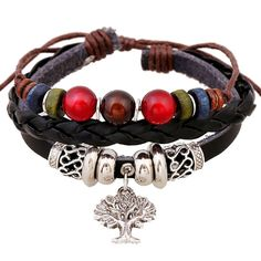 SumBonum Jewelry Womens Alloy Genuine Leather Braided Surfer Wrap Bracelet, Vintage Beads Tree of Life Cuff Charm Bracelet, Adjustable Fits 7 Inch-12 Inch, Black Red Silver >>> Click on the image for additional details. (This is an affiliate link and I receive a commission for the sales)