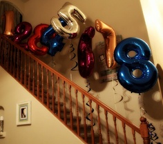 Maze of giant number balloons- stop at what age they are!  How awesome would it be to wake up to this!