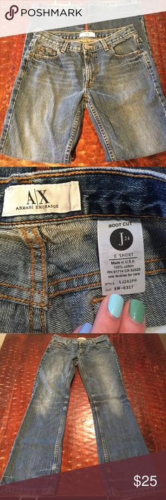"""Armani Exchange """"J24"""" Bootcut Size 6 Short Armani Exchange """"J24"""" Bootcut Jean Size 6 with a 29"""" inseam. These jeans are in good condition. There is slight fraying on cuffs, and one belt-loop is torn half off, with a small hole. These are visible in pics. These are the only signs of wear. Comes from a Smoke Free/Feline Friendly home. Offers always welcome. Armani Exchange Jeans Boot Cut"""