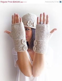 Christmas Sale 20 % OFF Ecru Knit Fingerless Gloves, Arm Warmers with three knitted buttons on Etsy, $20.80