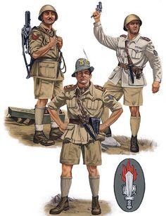 """Assault Engineers, Egypt, 1942""""  • Caporalmaggiore of a mortar section, XXXI Battaglione Guastatori • Tenente, XXXI Battaglione Guastatori • Maggiore Paolo Caccia Dominioni"""