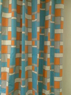 Pair of designer curtains, drapes, panels, 50 X 90 inches, LINED, hopscotch mandarin natural. $220.00, via Etsy.