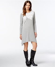 kensie Appliqué French Terry Shift Dress - Dresses - Women - Macy's