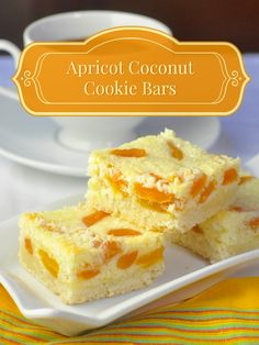 These Apricot Coconut Cookie Bars have a buttery shortbread base with ...