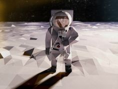low poly space (Buzz Aldrin).  note use of shallow depth of field - makes it looks small / papery.  diorama-esque