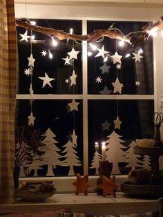 minimalistische fensterdeko für weihnachten