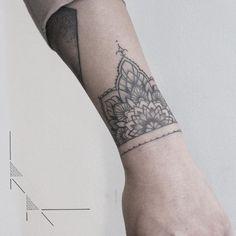 Healed mandala bracelet. #rachainsworth #mandalatattoo #wristtattoo…