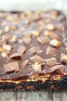 Chocolate Peanut Butter Brownie Recipe on twopeasandtheirpod.com