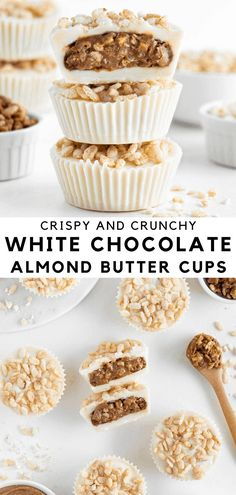 Crispy white chocolate almond butter cups are an easy no bake dessert! Enjoy a thick layer of sweet, crunchy almond butter enrobed in creamy white chocolate. Each cup is topped with brown rice crisps cereal for a delightful crunch in every bite. It's vegan, dairy-free, and made with 6 ingredients. #almondbutter #whitechocolate #reeses #vegan #almondbuttercups #nobakedessert #dairyfree Easy No Bake Desserts, Vegan Dessert Recipes, Candy Recipes, Healthy Desserts, Free Recipes, Snack Recipes, Healthy Recipes, Vegan White Chocolate, Chocolate Cups