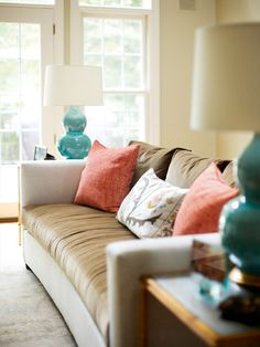 Making turquiose and coral work well with both browns and grays - House of Turquoise: Kara Cox Interiors