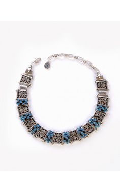 Pinup Girl Clothing- Angelique Necklace in Blue | Pinup Girl Clothing