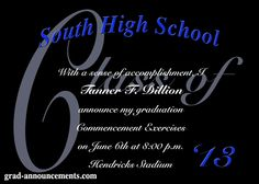 Black graduation announcements - color of background and text can be changed.