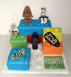 Lego Star Wars birthday cake made these lego pieces for Noah's 5th birthday party!