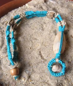 Unique teal-colored hemp necklace with by MatchingTreeDesigns