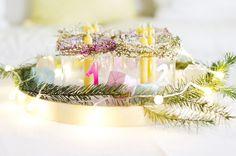 Modern Interior Winter Decoration Advent Wreath Colourful