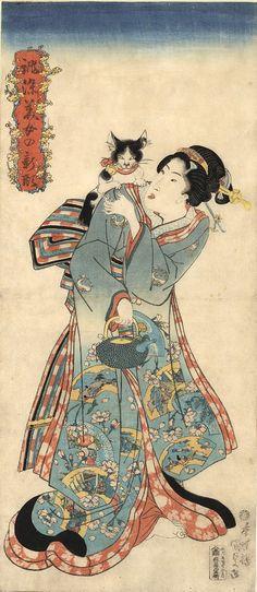 catonhottinroof:  Kunisada(1786 – 1865) Study of a standing bijin, late 1830s Series: Atsurae Zome Bijo no Shingata