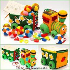 Развивающие игрушки ручной работы. Ярмарка Мастеров - ручная работа Развивающий паровозик (18m+) авторская работа. Handmade.