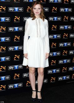 Emily Berrington.. Alice by Temperley white long sleeve flare dress with sheer…