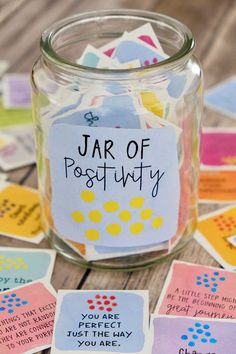 Printable Positive Message Inspirational Cards - Motivational Cards - 3 Set BUNDLE - Positive Quotes - Lunch Box Notes and Care Packages Message Jar, 365 Jar, Positive Messages, Positive Quotes, Messages In A Jar, Positive Vibes, Happy Jar, Motivational Cards, Lunch Box Notes