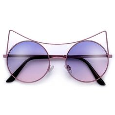 Sultry High Pointed Brow Bar 54mm Circle Cat Eye Sunnies ($5) ❤ liked on Polyvore featuring accessories, eyewear, sunglasses, circle glasses, round cat eye sunglasses, round wayfarer sunglasses, circle sunglasses and aviator sunglasses