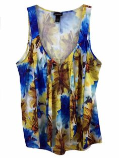 Women's Plus Lane Bryant 26/28 3X Top Colorful Satin Floral Print Tie Front Neck #LaneBryant #Blouse #Casual
