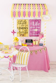 Warmer weather means spring garden parties...why not throw an oh-so-sweet lemonade stand soiree!