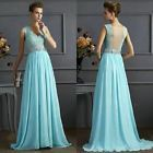 Sexy Lace Women Maxi Wedding Evening Party Sleeveless Long Chiffon Dress Gown