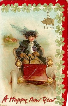 clovers, woman drives automobile front, good luck gilt pig upper right