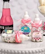 Pink Baby Bottles Personalized, Baby Shower, Birth Announcements, It's A Girl $0.75 - $0.50