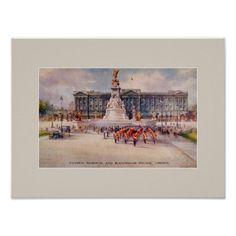 Vintage Victoria Memorial Buckingham Palace art Print