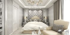 Luxury bedroom - classic residence interior design. Art Deco bedroom.