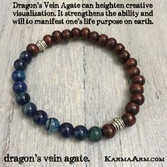 MANTRA: My path is becoming clear. - 8mm Blue Dragon's Vein Agate Natural Gemstones - 7x8mm Driftwood Balls - Vintage Tibetan Silver Rondelles - Commercial Strength, Latex Free Elastic Band - Artisan