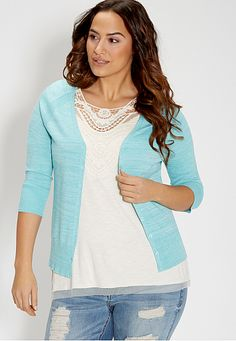 the classic plus size cardi in spacedye fabric (original price, $34) available at #Maurices
