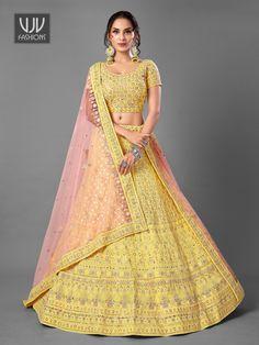 Rs14,100.00 Designer Bridal Lehenga, Bridal Lehenga Choli, Party Wear Lehenga, Saree Shopping, Lahenga, Latest Sarees, Indian Wedding Outfits, Mirror Work, Bright Yellow