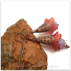 Winterberry Fairy Flower Trumpet Drop Earrings in Antique CopperHandmade Crafts by Shes-A-Belle Designs