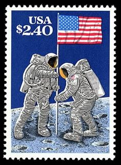 Priority Mail Stamp - 20th Anniversary, Apollo moon landing, issued July 20, 1989