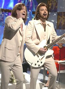 Justin Timberlake and Jimmy Fallon as the Gibb brothers in a sketch on 'Saturday Night Live'