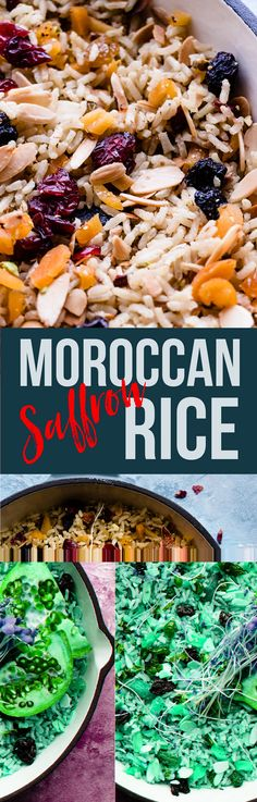 This simple Moroccan rice pilaf is a one pot rice wonder. Fragrant with spices, nuts and dried fruit it's simple enough for weeknights and hearty enough to be dinner on it's own. A totally vegan, whole grain dish made with brown rice and spices.  #plantbased #moroccan #rice via @saltedmint1
