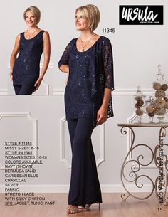 Ursula of Switzerland 41345 Stretch lace and silky chiffon three piece plus size formal pant suit consisting of a sleeveless lace tank and a three quarter sleeve lace jacket. Available in misses sizes as style Mother Of Bride Outfits, Mother Of Groom Dresses, Mom Outfits, Navy Evening Dresses, Formal Pant Suits, Wedding Pants, Mother Of The Bride Plus Size, Plus Size Formal, Mom Dress