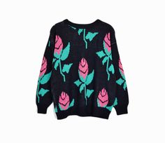 Vintage 80s Metallic Rose Sweater / Tacky Sweater ▲ a vintage 80s black sweater with metallic pink and green roses ▲ crew neck ▲ long sleeves