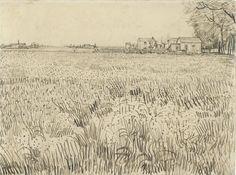 Field with Farmhouses, 1888. Vincent van Gogh