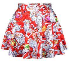 Satin Mini Pleated Skirt with Christmas Theme Pattern - iDreamMart.com