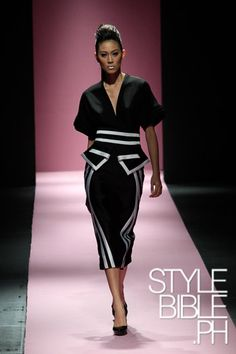 Xernan Orticio, one of MYTH's talented designers, staged the runway of the Philippine Fashion Week Holiday 2013 event last month with his refined yet fashionable 10-piece collection. All in black with white patterns, his creations exemplify sophistication, wit, and class.   Photo taken from stylebible.ph