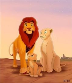 King nala and family simba lion