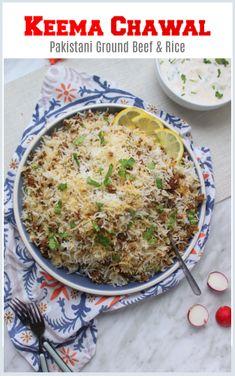 Keema Chawal Pakistani Recipe - Ground Beef + Rice Pilaf, SO kid friendly! Pakistani Rice Recipes, Pakistani Dishes, Indian Dishes, Indian Food Recipes, Healthy Recipes, Raita Recipe Pakistani, Pakistani Desserts, Indian Foods, Veg Recipes