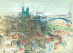 O Porto por Nadir Afonso. Nadir Afonso, Gustav Klimt, Paint Designs, Portuguese, Portugal, Sculpture, Drawings, Illustration, Pastel
