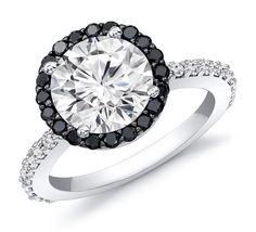 1.37 Carat Halo Diamond Engagement Ring With Black Diamond